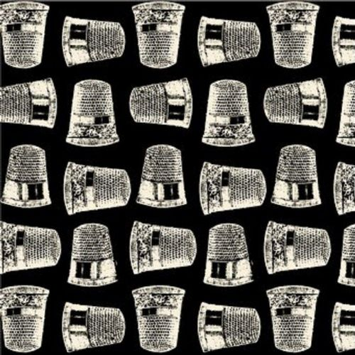 Blank Quilting - Lady Claire Thimbles Black/Cream Fabric